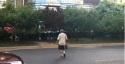 凯德茂门口绿化隔离带伤痕累累,行人过马路危险重重!